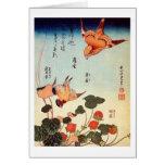 ヘビイチゴに小鳥, pájaro y fresa de la mofa, Hokusai del 北 Tarjeton