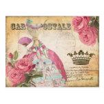マリーアントワネットのポストカード、王冠ー絵葉書ゴールド はがき