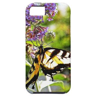ラベンダーの蝶ブッシュの黄色い蝶 iPhone SE/5/5s CASE