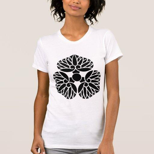 三つ河骨紋 water lily Japanese Kamon Family Crest Shirt