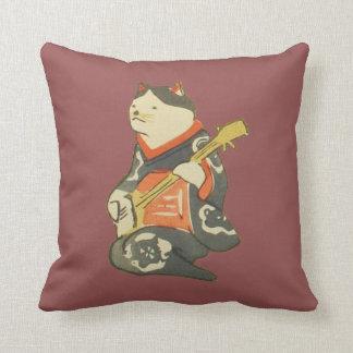 三味線を弾く猫, 国芳 CatPlayingGuitar, Kuniyoshi, Ukiyoe Throw Pillow
