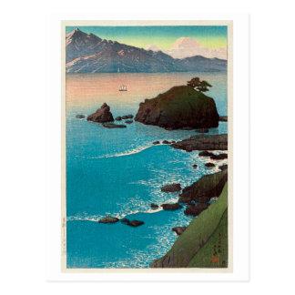 久手の浜, Kude Beach in Wakasa, Hasui Kawase, Woodcut Postcard