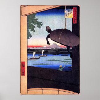 亀と富士山, tortuga y el monte Fuji, Hiroshige, Ukiyoe  Posters