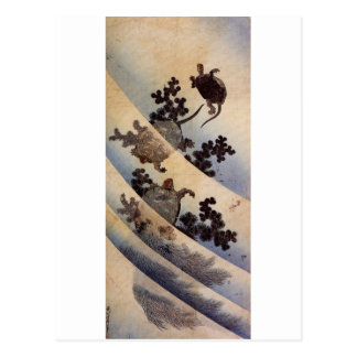 亀, 北斎 Turtles, Hokusai, Ukiyo-e Postcard