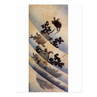 亀, tortugas del 北斎, Hokusai, Ukiyo-e Postal