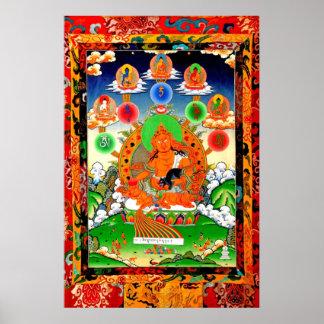 五佛與黃財神LINEAGE 5 BUDDHA YELLOW JAMBHALA Poster