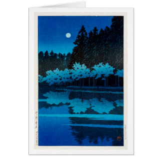 井之頭公園の月, Moon at Inokashira Park, Hasui Kawase Card