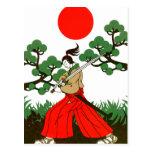 侍と刀と松と日の丸(Samurai sword and pine and Japanese flag ポストカード