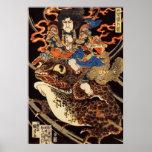 侍と化け蛙, 国芳 Samurai and Giant Frog, Kuniyoshi, Ukiyo Poster
