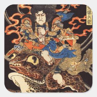 侍と化け蛙, 国芳 Samurai and Giant Frog, Kuniyoshi, Ukiyo Square Sticker