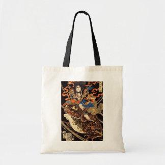 侍と化け蛙, samurai y rana gigante, Kuniyoshi, Ukiyo de Bolsa Tela Barata