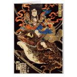 侍と化け蛙, samurai y rana gigante, Kuniyoshi, Ukiyo de Felicitación