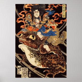 侍と化け蛙, samurai y rana gigante, Kuniyoshi, Ukiyo Póster
