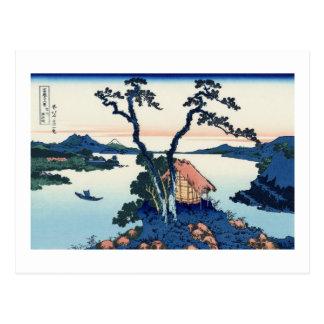 信州諏訪湖, 北斎 View Mt.Fuji from Lake Suwa, Hokusai Postcard