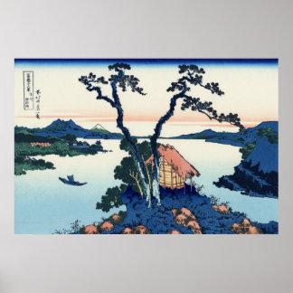 信州諏訪湖, opinión el monte Fuji del 北斎 del lago Suwa, Póster