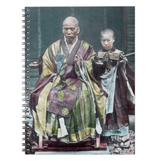 僧 japonés de Japón de los monjes budistas del vint Libro De Apuntes Con Espiral