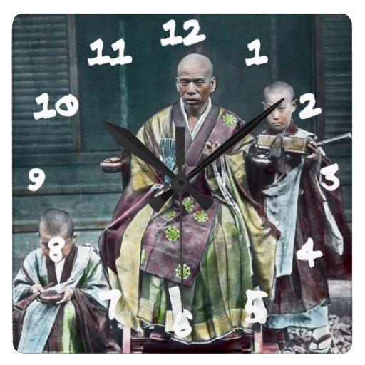 僧 japonés de Japón de los monjes budistas del vint Reloj Cuadrado