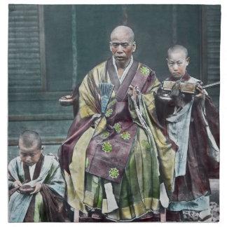僧 japonés de Japón de los monjes budistas del vint Servilleta De Papel