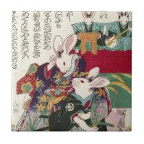 兎の歌舞伎役者, 芳藤 Actors of Rabbit, Yoshifuji, Ukiyo-e Ceramic Tile