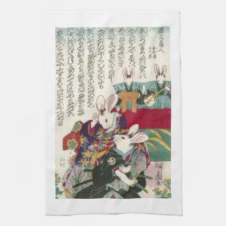 兎の歌舞伎役者, 芳藤 Actors of Rabbit, Yoshifuji, Ukiyo-e Hand Towel