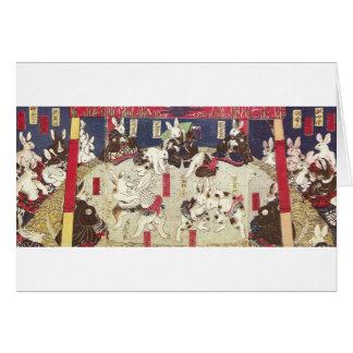 兎の相撲, 芳藤 Sumo Rabbits, Yoshifuji, Ukiyo-e Card