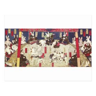 兎の相撲, 芳藤 Sumo Rabbits, Yoshifuji, Ukiyo-e Postcard