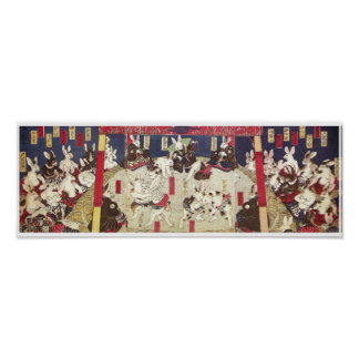 兎の相撲, 芳藤 Sumo Rabbits, Yoshifuji, Ukiyo-e Poster