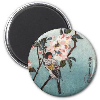 八重桜に鳥, 広重 Cherry Blossom & Bird, Hiroshige, Ukiyoe Magnet