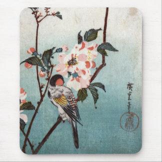 八重桜に鳥, 広重 Cherry Blossom & Bird, Hiroshige, Ukiyoe Mouse Pad
