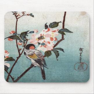八重桜に鳥, 広重 Cherry Blossom & Bird, Hiroshige, Ukiyoe Mousepads