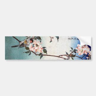 八重桜に鳥 flor de cerezo y pájaro Hiroshige Ukiyoe Pegatina De Parachoque