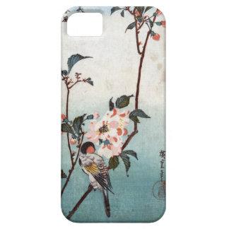 八重桜に鳥 flor de cerezo y pájaro Hiroshige Ukiyoe iPhone 5 Cárcasa