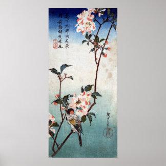 八重桜に鳥, flor de cerezo y pájaro, Hiroshige, Ukiyoe Póster