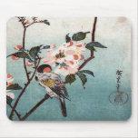 八重桜に鳥, flor de cerezo y pájaro, Hiroshige, Ukiyoe  Tapetes De Ratón