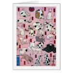 其のまま地口猫飼好五十三疋(下), 国芳 Cats(3), Kuniyoshi, Ukiyo-e Greeting Card