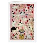 其のまま地口猫飼好五十三疋(中), 国芳 Cats(2), Kuniyoshi, Ukiyo-e Greeting Card