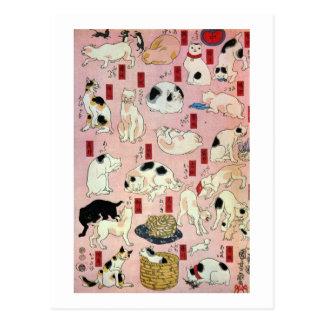 其のまま地口猫飼好五十三疋(中), 国芳 Cats(2), Kuniyoshi, Ukiyo-e Postcard