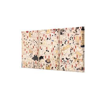 其のまま地口猫飼好五十三疋, 国芳 Cats, Kuniyoshi, Ukiyo-e Canvas Print