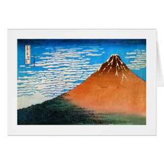 凱風快晴(赤富士), 北斎 Red Mount Fuji, Hokusai, Ukiyo-e Card