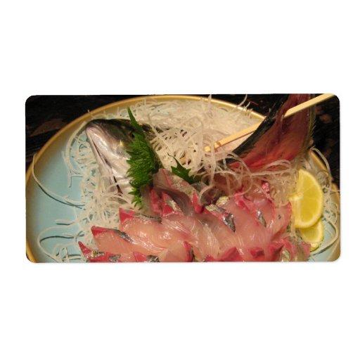 刺身 del Sashimi Etiquetas De Envío