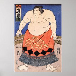 力士, luchador del sumo del 国芳, Kuniyoshi, Ukiyo-e Impresiones