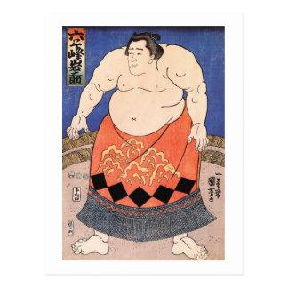 力士, luchador del sumo del 国芳, Kuniyoshi, Ukiyo-e Postales