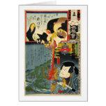 化け猫, 豊国 Monster Cat, Toyokuni, Ukiyo-e Greeting Card