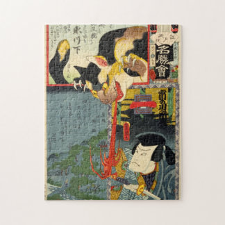 化け猫, 豊国 Monster Cat, Toyokuni, Ukiyo-e Jigsaw Puzzle