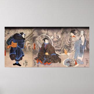 化け猫, aparición del gato monstruoso, Kuniyoshi del  Impresiones