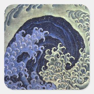 北斎の波, 北斎 Hokusai Wave, Hokusai Square Sticker