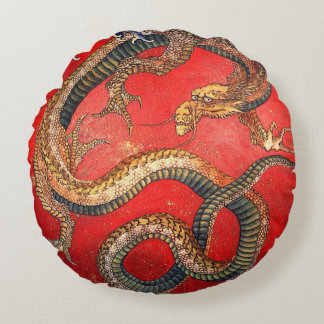 北斎の龍, 北斎 Hokusai Dragon, Hokusai, Japan Art Round Pillow