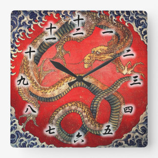 北斎の龍, 北斎 Hokusai Dragon, Hokusai, Japan Art Square Wall Clock