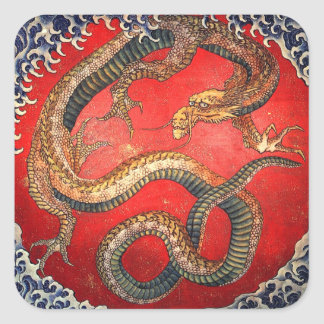 北斎の龍, 北斎 Hokusai Dragon, Hokusai Square Sticker