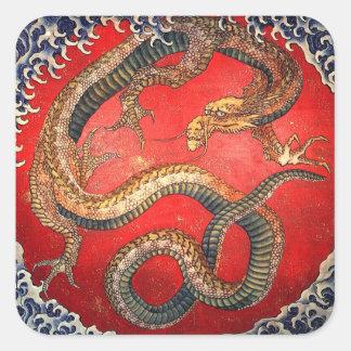 北斎の龍, 北斎 Hokusai Dragon, Hokusai Square Sticker